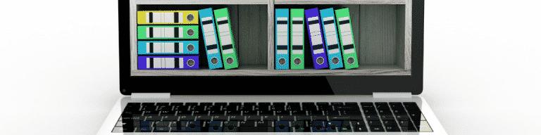 Binder files inside a computer screen for Expert Witness